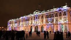 Fest lighting of Winter Palace, St. Petersburg, Russia Stock Footage