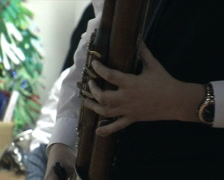 Man playing the bassoon Stock Footage