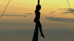 Aerial artist at sunset Stock Footage