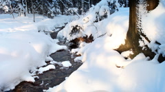 Cold stream and snowdrifts in the forest, winter season. Stock Footage