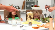 Parents serving lunch to their children Stock Footage