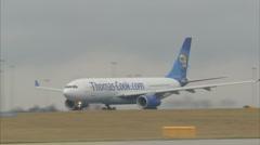 Passenger plane airport takeoff - Thomas Cook B757 1920x1080 Stock Footage