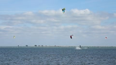 Kite Surfers at Ft. Desoto Jump  Stock Footage
