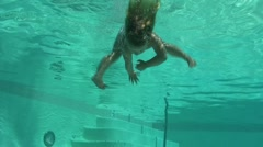 underwater swimming 3 year old-1-5 - stock footage