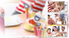 Close-up of a happy family celebrating a birthday - stock footage