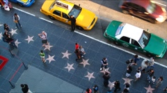 Hollywood walk of fame stars city people timelapse - stock footage