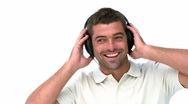 Stock Video Footage of Glad man listening music
