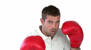 Stock Video Footage of Charismatic man with boxing gloves