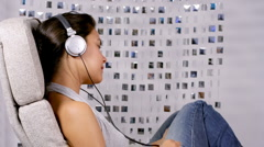 woman cute music listen babe lifestyle - stock footage