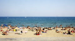 Barcelona beach summer coast spain Stock Footage