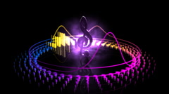 Spinning Treble Clef - Equalizer 57 (HD) Stock Footage