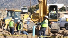 Construction Workers at Worksite Stock Footage