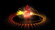 Stock Video Footage of Spinning Treble Clef - Equalizer 56 (HD)