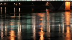 Linz bridge lights abstract urban Stock Footage
