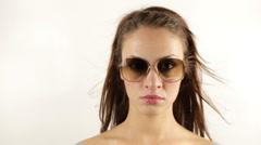 Stopmotion woman retro sunglasses Stock Footage