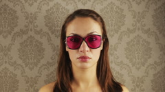 Stopmotion woman retro sunglasses Stock Footage