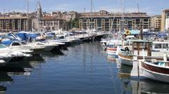 Port harbour marseille vieux boats Stock Footage