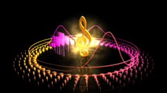 Spinning Treble Clef - Equalizer 55 (HD) Stock Footage