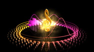 Stock Video Footage of Spinning Treble Clef - Equalizer 55 (HD)