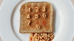 Number toast spaghetti letters Stock Footage