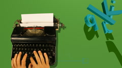 Old typewriter 3d letters Stock Footage