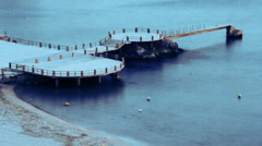 Pier getting dark marseille Stock Footage