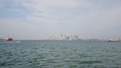 Staten island ferry towards manhattan nyc Stock Footage