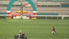 Racecourse race day Stock Footage