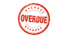 OVERDUE stamp - stock footage
