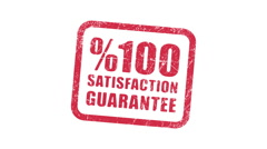 %100 SATISFACTION GUARANTEE stamp - stock footage