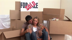 Pretty couple drinking champagne Stock Footage