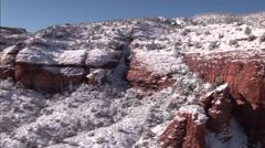 Aerial Snow Scene Sedona Red Rocks 1 Stock Footage
