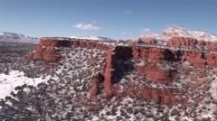Aerial Snow Scene Sedona Red Rocks Doe Mesa 3 Stock Footage