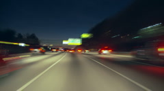 streaking traffic POV - stock footage