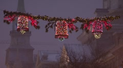 Old Montreal Bon Secours Christmas at night Stock Footage