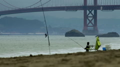 Baker Beach Fisherman Stock Footage