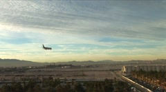 Las Vegas-commercial jet landing at LV - stock footage