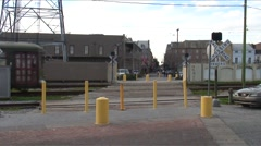 New Orleans-train railroad crossing Stock Footage