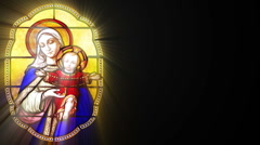 Stained glass with Mary and Jesus (Seamless Loop) - stock footage