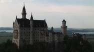 Stock Video Footage of Neuschwanstein Castle at dusk (medium shot)