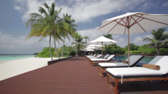 Tropical beach pool area Stock Footage