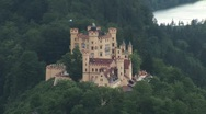 Stock Video Footage of Hohenschwangau Castle (high angle)