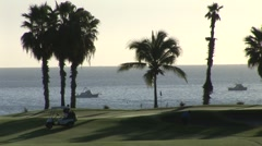 Golf Green Silhouette By Ocean - stock footage