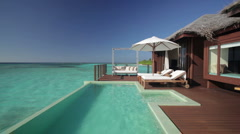 water bungalow terrace with pool - stock footage