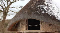 Iron age roundhouse in Wales, UK Stock Footage