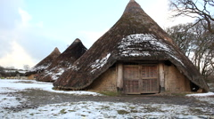 Iron age roundhouses in Wales, UK Stock Footage