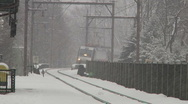 Stock Video Footage of Train under snow storm arrives at the train station-Liberta0019