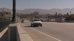 Traffic on a road into Salt Lake City Stock Footage