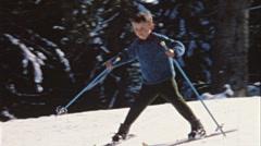 Boy skiing downhill (vintage 8 mm amateur film) Stock Footage