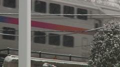 Train under snow storm-Liberta0016 Stock Footage